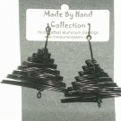 Midnight Black Pyramid Design Aluminum Earrings -FREE SHIPPING-