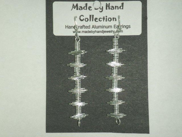 Metallic Silver Long Linear Design Aluminum Earrings -FREE SHIPPING-
