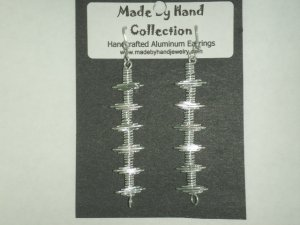 Metallic Silver Long Linear Design Aluminum Earrings -FREE SHIPPING-