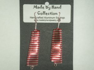 Cotton Candy Pink/Wild Red Linear Oval Design Aluminum Earrings -FREE SHIPPING-
