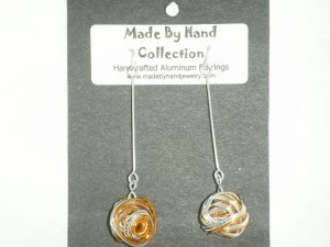 Penny Copper/Metallic Silver Long Weaved Ball Design Aluminum Earrings -FREE SHIPPING-