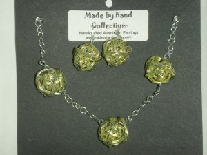 Key Lime Pie/Metallic Silver Weaved Balll Design Aluminum Earrings -FREE SHIPPING-