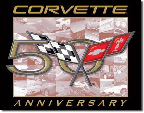 Corvette 50th Anninersary Logo TIN SIGN  FREE SHIPPING