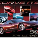 "CHEVROLET Corvette 50th Car 16""W x 12.5""H TIN SIGN ""FREE SHIPPING"