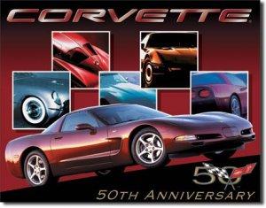 "CHEVROLET Corvette 50th Car 16""W x 12.5""H TIN SIGN ""FREE SHIPPING"