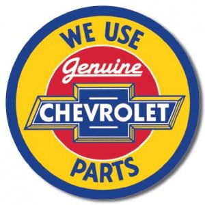 "Chevy Round Geniune Parts  11.75"" Dia. TIN SIGN ""FREE SHIPPING"