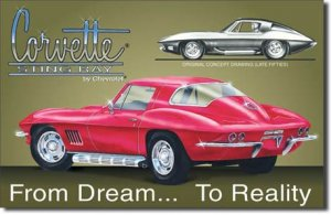 "CHEVY - Corvette Stingray 16""W x 10.5""H  TIN SIGN ""FREE SHIPPING"