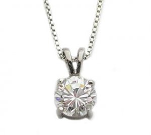Rhodium Over Sterling 7 MM (2.2 Carat) Solitaire CZ Pendant