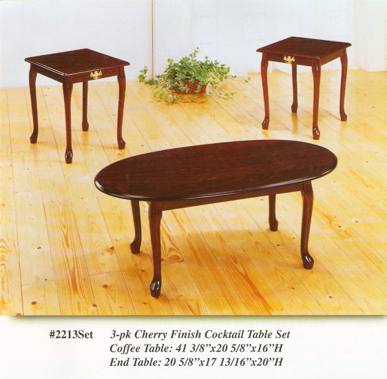 3-pk Cherry Finish Cocktail Table Set Coffee Table