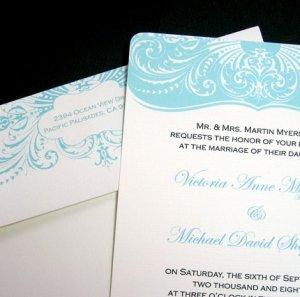 Aqua Blue Wedding Invitation Set