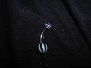 Black Striped Belly Ring 14G Curve  *FREE SHIP*
