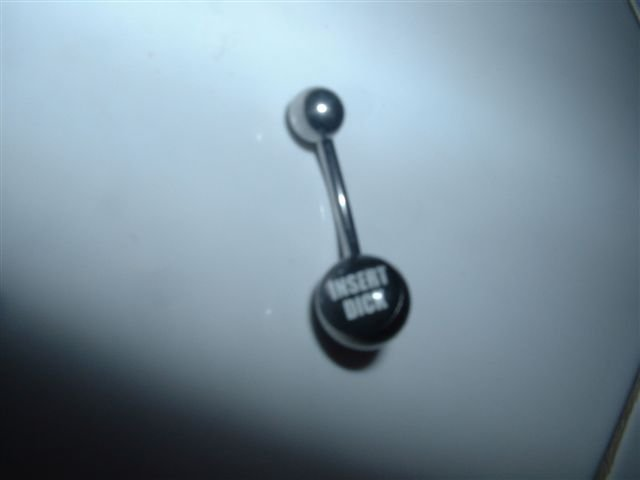 "Logo Belly Ring ""Insert Dick"" 14G Bar  *FREE SHIP*"