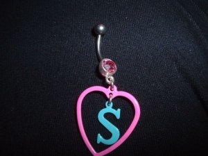 """Initial """"S"""" Dangle Belly Ring 14G Pink Gem Dangle *FREE SHIP*"""