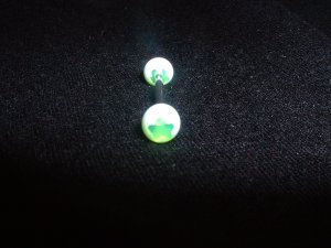 Green Star Dot Tongue Ring 14G Bar or Nipple Ring *REE SHIP*