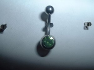 Swarovski Crystal Belly Ring 14G Light Green Gem *FREE SHIP*