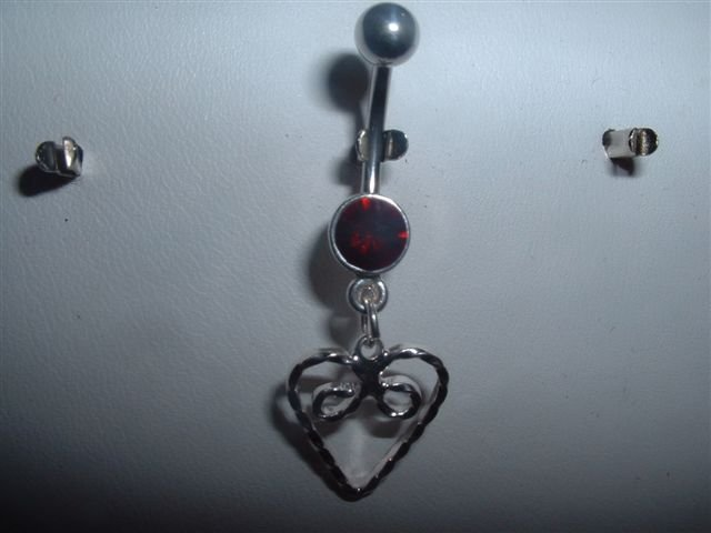 Silver Heart Dangle Belly Ring Navel Bar 14G With Ruby Swarovski Crystal *FREE SHIP*