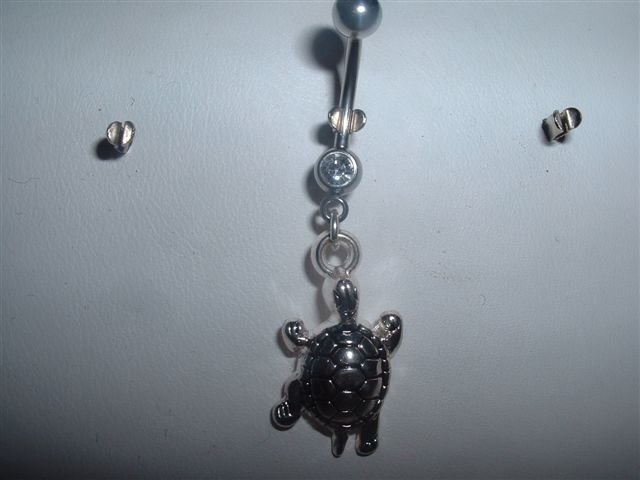 Silver Turtle Dangle Belly Ring Navel Bar 14G Swarovski Accents *FREE SHIP*