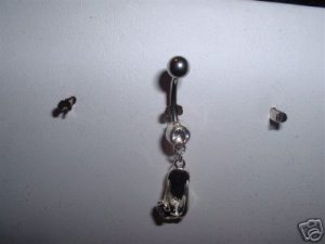 Sexy Dangle Belly Navel Ring 14G Silver Flip Flop & Gems *Free Ship*