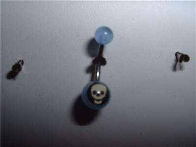 Blue Acrylic Logo Belly Navel Ring 14G Skull Logo *New*