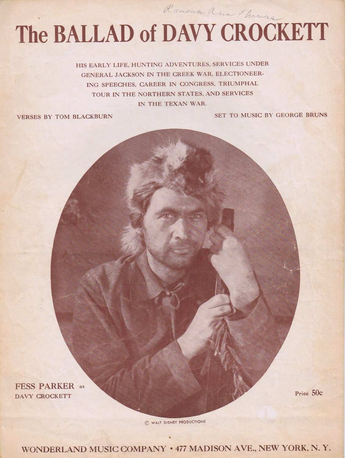 The Ballad of Davy Crockett 1954 Sheet Music with Fess Parker Pictures