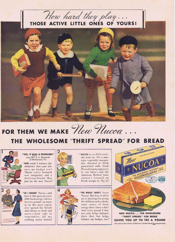 1937 Nucoa Margarine Original Vintage Advertisement with Vintage Dressed Schoolchildren