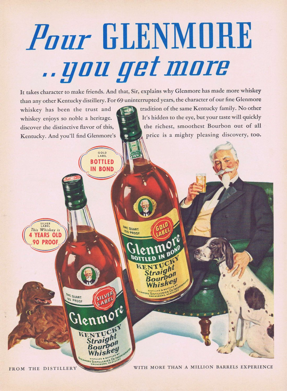 1941 Glenmore Kentucky Straight Bourbon Whiskey Original Vintage Ad with Man Enjoying Dogs