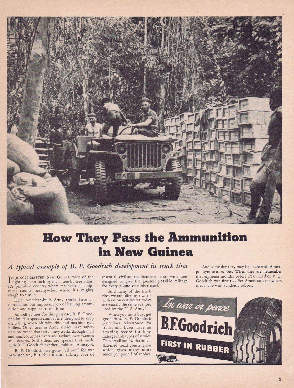 1943 B.F. Goodrich Tires WW2 Era Original Vintage Advertisement with Soldiers in New Guinea