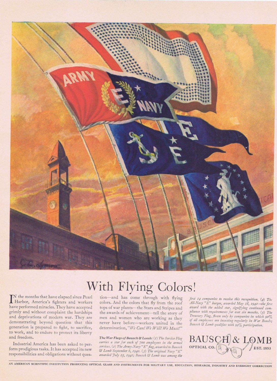 1942 Bausch & Lomb Optical Co WW2 Era Original Vintage Advertisement with 5 War Flags