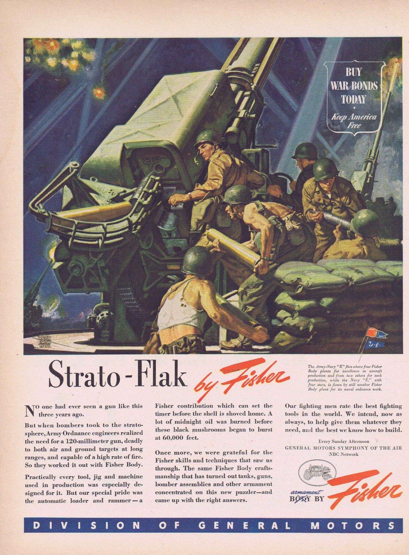 1944 WW2 120-Millimeter Gun Original Vintage Ad for Fisher Body  and General Motors