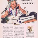 1943 Curtiss Candy and Uncle Sam WW2 Original Vintage Advertisement with Candy for Soldiers
