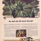 1942 Hamilton Watch WW2 Original Vintage Ad with Statue of Liberty and Soldier and Sweetheart