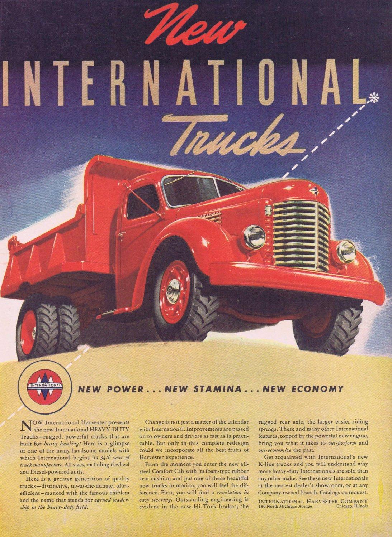 1941 International Heavy-Duty Trucks Original Vintage Ad with Beautiful Art Drawing of Red Truck