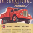 1941 International Heavy-Duty Trucks Original Vintage Ad with Beautiful Art Drawing of Red Truck
