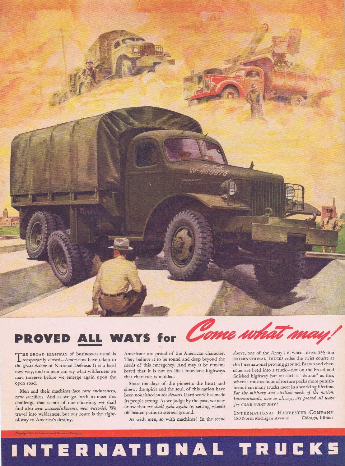 1941 International WW2 War Truck Original Vintage Ad for National Defense