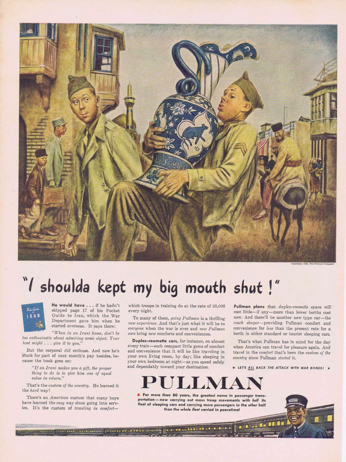 1944 Pullman Train WW2 Original Vintage Advertisement with Soldier and Gift from Iran