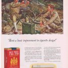 1941 Pall Mall Cigarettes WW2 Original Vintage Ad with Signal Corp Soldiers art by John Falter