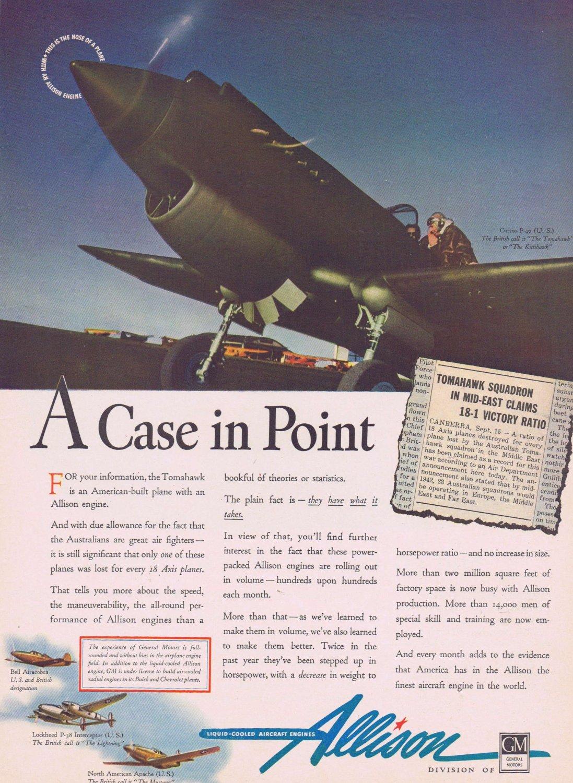 1942 WW2 Tomahawk Plane with Allison Engine Vintage Ad 18-1 Victory Ratio by Australian Squadron