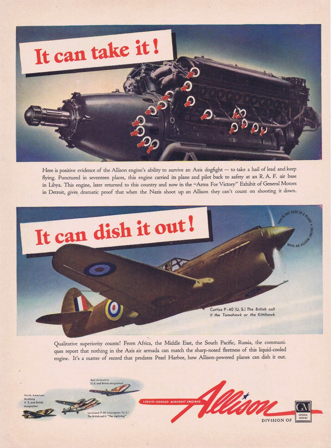 1942 WW2 Allison Aircraft Engines Original Vintage Advertisement with Tomahawk Fighter Plane