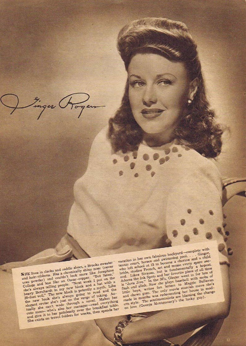 Beautiful Ginger Rogers 1942 sepia movie picture with autograph copy and Movie News