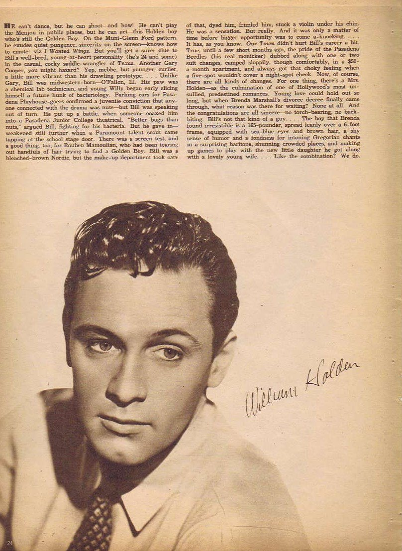 Young and Handsome William Holden 1942 Sepia Movie Picture with Autograph Copy and Movie News