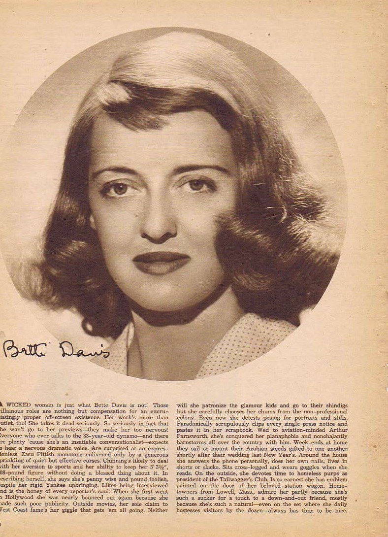 Bette Davis 1942 Sepia Movie Picture with Autograph Copy and Movie News