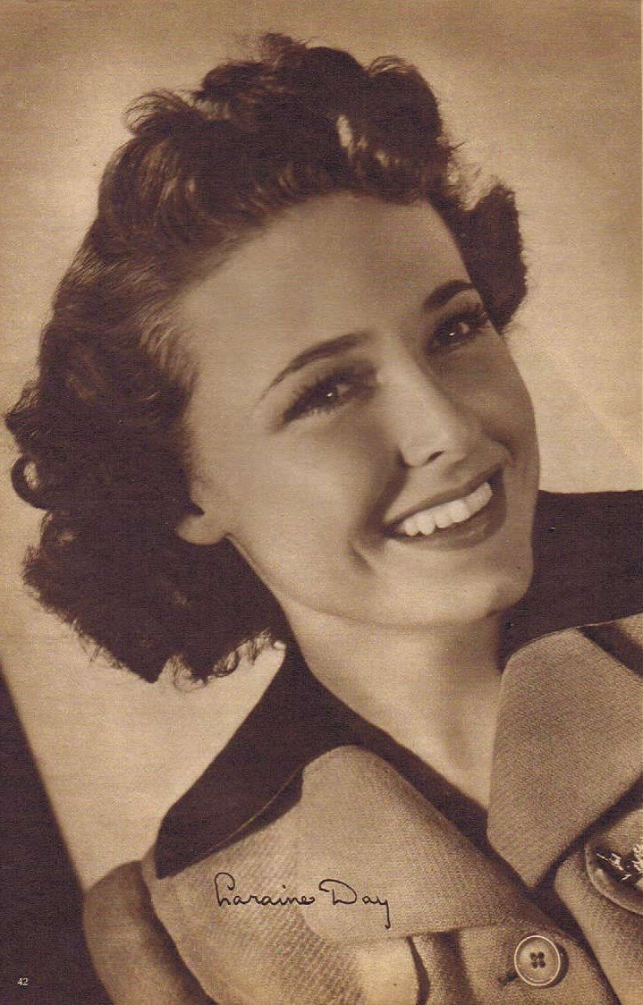 Young and Beautiful Laraine Day 1942 Sepia Movie Picture with Autograph Copy  in a Classic Pose