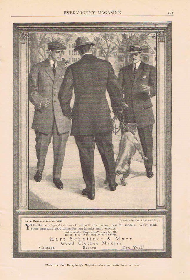 Hart, Schaffner & Marx Men�s Clothing 1910 Original Vintage Ad on the campus of Yale University