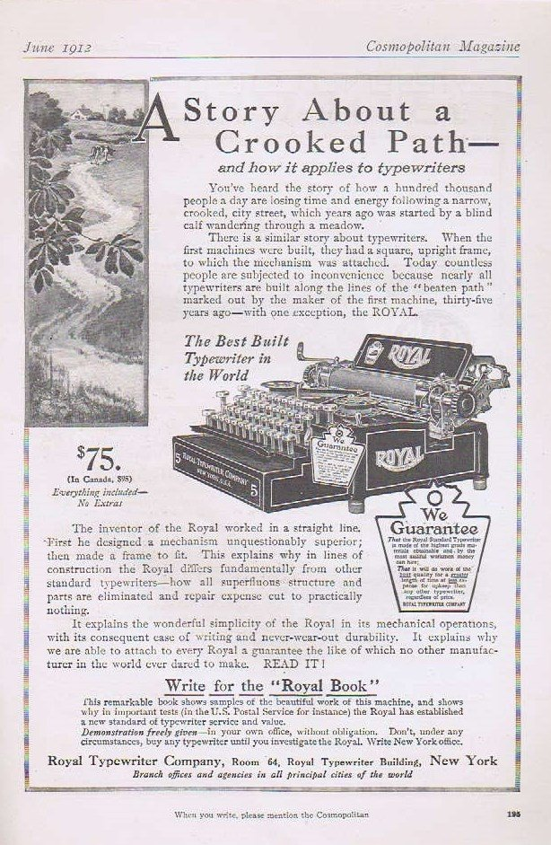 1912 Royal Typewriter Original Vintage Advertisement Best Built Typewriter in the World