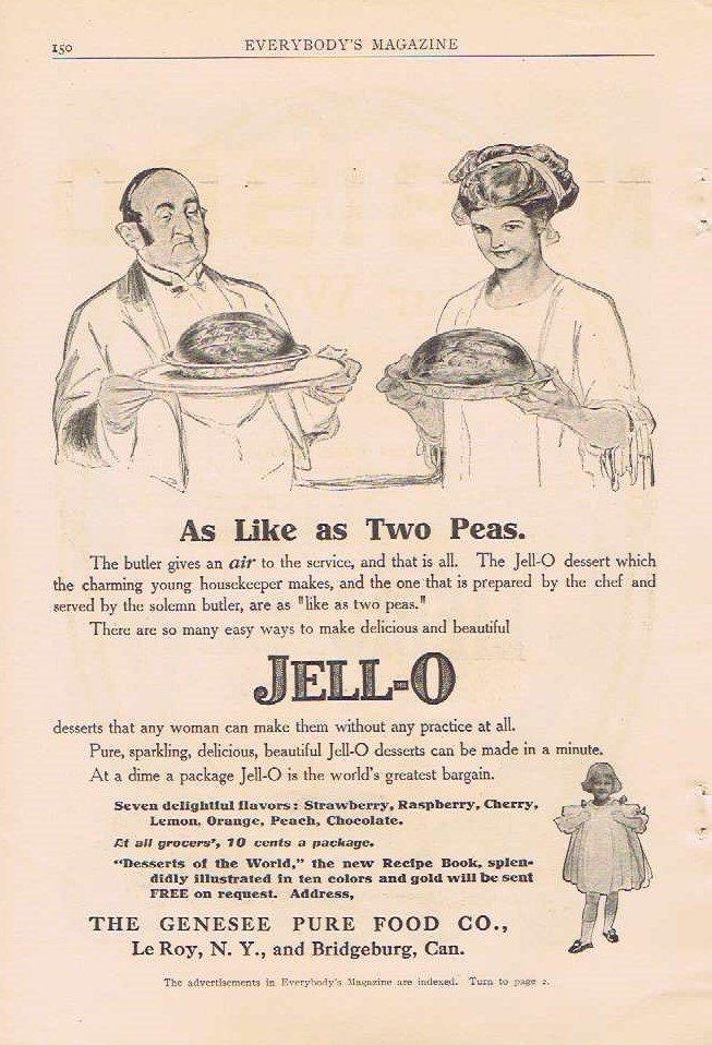 1910 Jell-O Deserts Original Vintage Advertisement As Like Two Peas