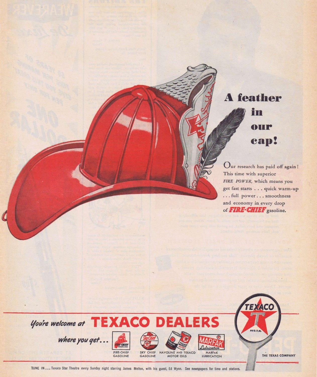 1947 Texaco Dealers Original Vintage Advertisement with Famous Fire-Chief cap