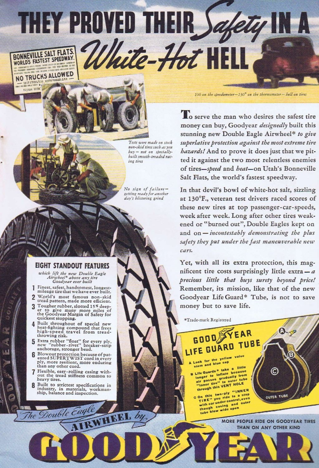 Good Year Double Eagle Airwheel Tires 1936 Original Vintage Ad with Safety in a White-Hot Hell