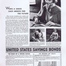 1936 United States Savings Bonds Original Vintage Advertisement for a Secure Future