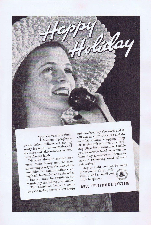 1936 Bell Telephone Happy Holiday Original Vintage Advertisement