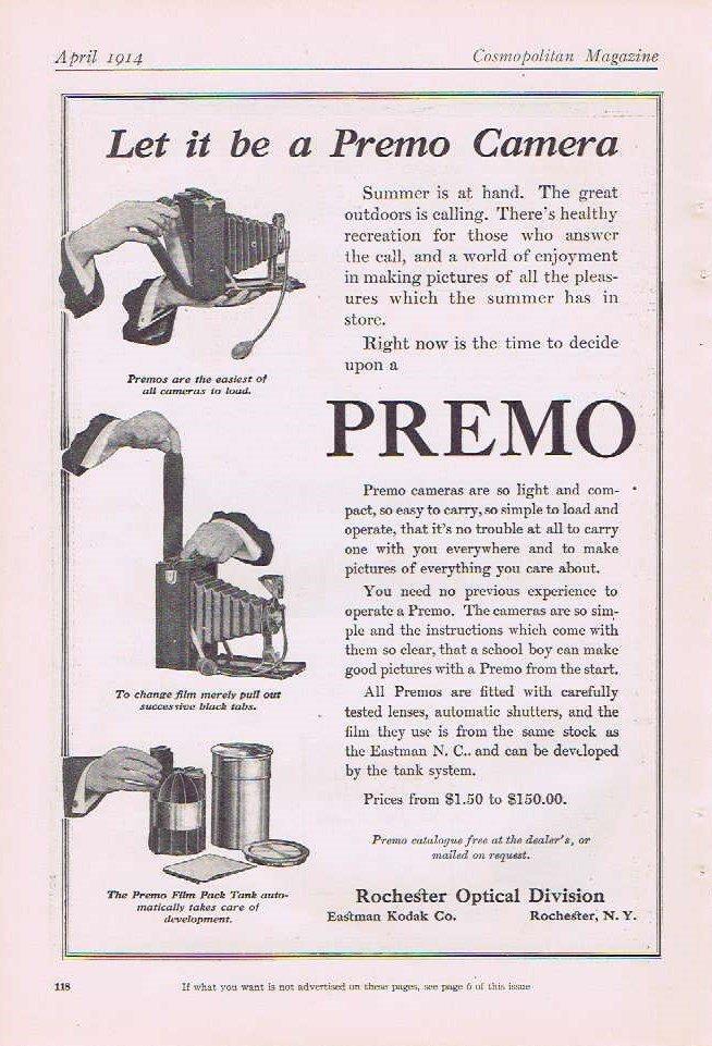 Premo Camera 1914 Original Vintage Advertisement by Rochester Optical of Eastman Kodak
